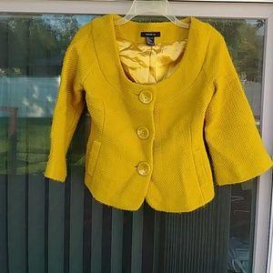 Arden B. Mustard Yellow button down jacket.